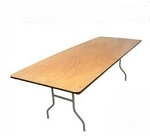 PLYWOOD KING 8' RECTANGULAR  FOLDING TABLE