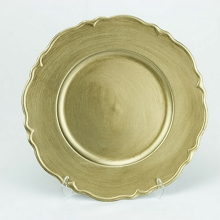 Charger Plate Metallic Antique BRUSHED GOLD