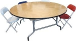 Kids round wood folding table