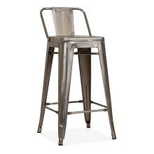 Metal Stacking Barstool W/Backrest Gun Metal Color