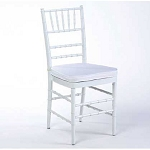 White wooden chiavari chairs w/ cushion