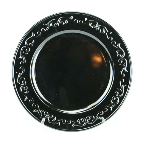 Charger Plate Embossed Design BLACK