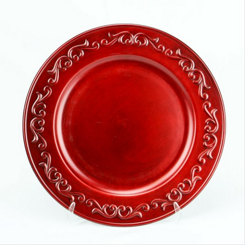 Charger Plate Embossed Design RED