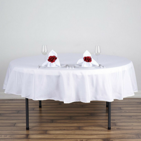 "90"" Polyester Round Tablecloth - White"