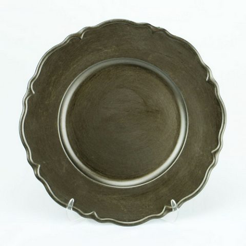 Charger Plate Metallic Antique BRUSHED CHARCOAL