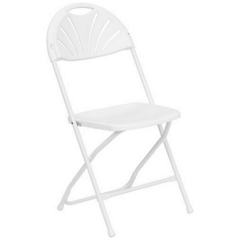 WHITE PLASTIC FOLDING FANBACK CHAIR